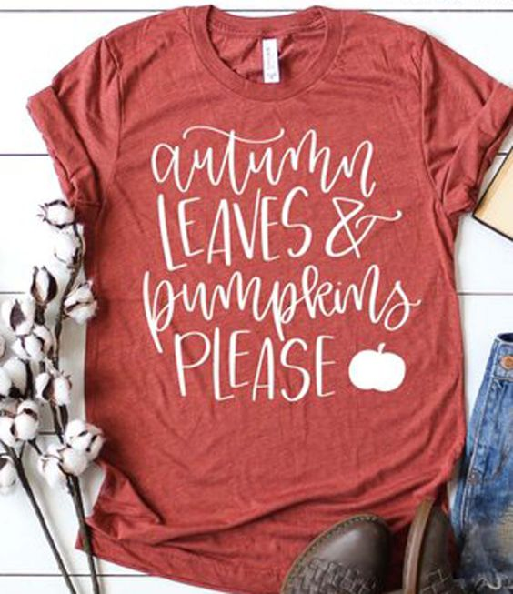 Autumn Leaves and Pumpkins T-Shirt AZ01