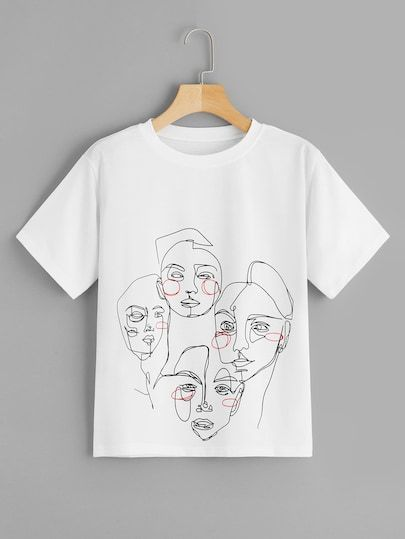 Abstract Figure Print T-Shirt EL01