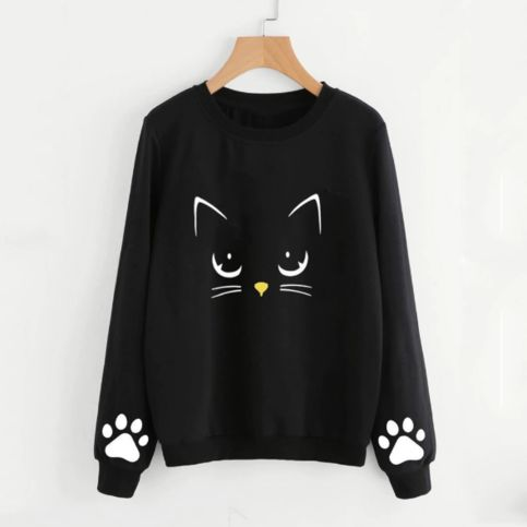 Autumn and Winter Black Cat Sweatshirt AZ01