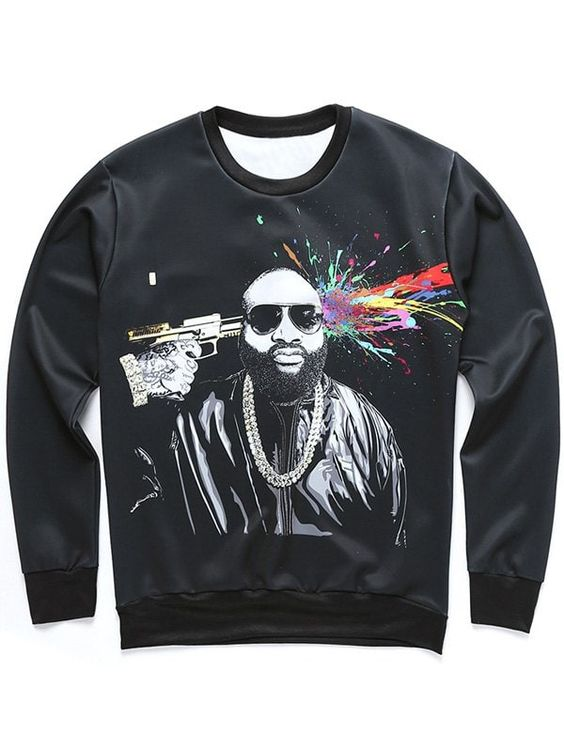 Figure and Splatter Paint Sweatshirt EL01