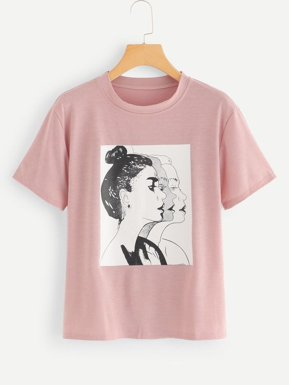 Women Figure Print Tee T-shirt EL01