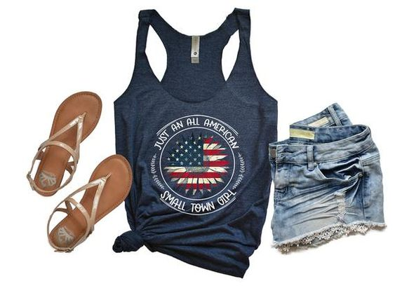 American Flag Sunflower Tanktop ND28J0