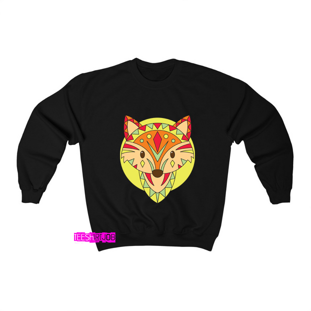 Faces Fox Ethnic Animals Sweatshirt AL22D0
